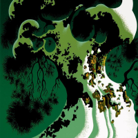 """Eyvind Earle Signed LE """"Snow Covered Bonsai"""" 20x16 Serigraph on Paper at PristineAuction.com"""