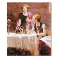 "Pino Signed ""After Dinner"" Artist Embellished Limited Edition 32x38 Giclee on Canvas at PristineAuction.com"