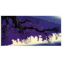 "Eyvind Earle Signed ""Purple Coastline"" Limited Edition 20x40 Serigraph on Paper"
