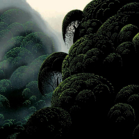 """Eyvind Earle Signed """"Spirit Grove"""" Limited Edition 10x35 Serigraph on Paper at PristineAuction.com"""