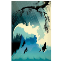 "Eyvind Earle Signed ""Ocean Splash"" Limited Edition 36x24 Serigraph on Paper"