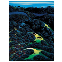 "Eyvind Earle Signed ""Three Pastures On A Hillside"" Limited Edition 36x27 Serigraph on Paper"