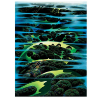 "Eyvind Earle Signed ""As Far As I Could See"" Limited Edition 40x30 Serigraph on Paper"