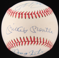 50 Home Run Club OAL Baseball Signed by (5) With Mickey Mantle, Willie Mays, Johnny Mize, Ralph Kiner (JSA LOA)