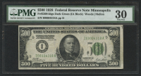 1928 $500 Five Hundred Dollars Federal Reserve Note - Minneapolis - IA Block - FR#2200 - Idgs Dark Green (PMG 30)