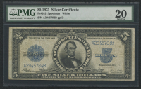 1923 $5 Five Dollars Porthole Silver Certificate Large Size Bank Note (PMG 20)
