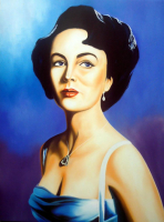 "Hector Monroy Signed ""Liz Taylor"" 24x32 Original Oil Painting on Canvas (PA LOA)"