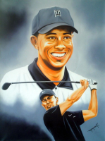 "Hector Monroy Signed ""Tiger Woods"" 24x32 Original Oil Painting on Canvas (PA LOA)"