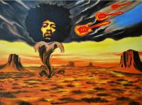 "Hector Monroy Signed ""Jimi Hendrix Kiss the Sky II"" 30x40 Original Oil Painting on Canvas (PA LOA)"