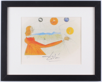 """Salvador Dali """"Dalinean Prophecy"""" 1975 12x15 Custom Framed Lithograph with Archival Mat on Arches Paper (Publisher COA)"""