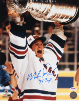 """Mike Richter Signed Rangers 11x14 Photo Inscribed """"'94 Cup"""" (PSA COA)"""