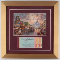 "Thomas Kinkade Disneyland ""Main Street USA"" 14x14 Custom Framed Print Display WIth Coupon Book"