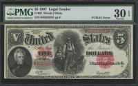 1907 $5 Five Dollars Legal Tender Large Bank Note (PMG 30) (EPQ) (PCBLIC Error)