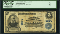 1902 $5 Five Dollars U.S. National Currency Large Size Bank Note - The Commercial National Bank of Ithaca, MI (PCGS 12)