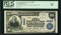 1902 $10 Ten Dollars U.S. National Currency Large Size Bank Note - The National Lumbermans Bank of Muskegon, MI (PCGS 30)