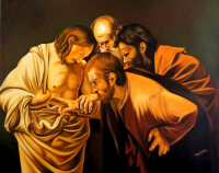 "Hector Monroy Signed ""The Incredulity of Saint Thomas"" 33.5x41.5 Original Oil Painting on Canvas (PA LOA)"