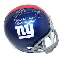 """Eli Manning Signed Giants Full Size Helmet Inscribed """"SB XLII MVP"""" & """"SB XLVI MVP"""" (Steiner COA)"""