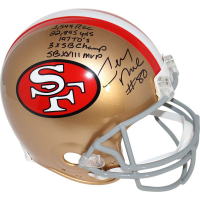 "Jerry Rice Signed 49ers Full Size Authentic Proline Throwback Helmet with (5) Career Stat Inscriptions Including ""1,549 REC"", ""22,895 YDS"", ""197 TD's"" (Steiner COA) at PristineAuction.com"