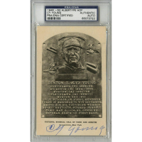 Cy Young Signed Gold Hall Of Postcard (PSA Encapsulated)