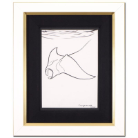 "Wyland Signed ""Manta Ray"" 16x19 Custom Framed Original Sketch"