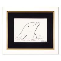"Wyland Signed ""Dolphin"" 19x16 Custom Framed Original Sketch at PristineAuction.com"