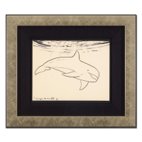 "Wyland Signed ""Dolphin"" 18x16 Custom Framed Original Sketch at PristineAuction.com"