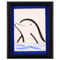 "Wyland Signed ""Dolphin"" 16x20 Custom Framed Original Sumi Ink & Watercolor Painting"