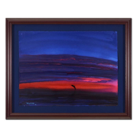 """Wyland Signed """"Dolphin"""" 38x31 Custom Framed Original Watercolor Painting"""