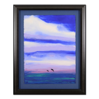 """Wyland Signed """"Two Dolphins"""" 32x39 Custom Framed Original Watercolor Painting"""
