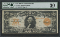 1922 $20 Twenty Dollars U.S. Gold Certificate Large Size Bank Note (PMG 30)