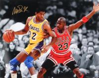 Magic Johnson Signed Lakers 16x20 Photo with Michael Jordan (Schwartz COA)