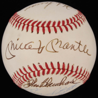 Yankees Legends  OAL Baseball Signed by (8) with Mickey Mantle, Whitey Ford, Enos Slaughter, Hank Bauer, Moose Skowron  (JSA LOA)