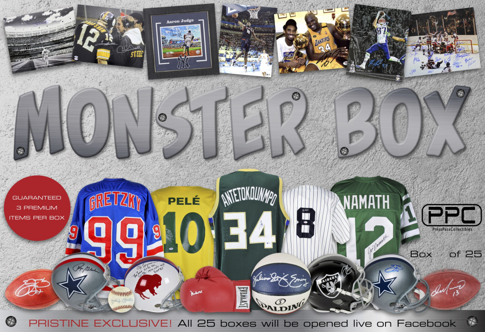 "c1686aefd93 ""Monster Box"" Mystery Box from Press Pass Collectibles – 3 Premium Hits Per  Box. """