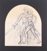 "Greg Hildebrandt Signed 1981 ""Clash of the Titans"" 21x22.5 Custom Matted Original Sketch (PA LOA) at PristineAuction.com"