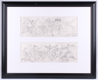 "Greg Hildebrandt Signed 2007 ""DC & Marvel Classic Characters Mural"" 27x33 Custom Framed Original Sketches (PA LOA)"
