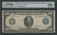 1914 $100 One Hundred Dollars Federal Reserve Large Size Bank Note - San Francisco (PMG 20)