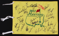 2012 Masters Tournament Pin Flag Signed by (28) with Arnold Palmer, Bubba Watson, Phil Mickelson, Fuzzy Zoeller (JSA LOA)