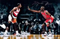 "Michael Jordan Signed Bulls ""Jordan vs Drexler"" 16x24 Photo (UDA COA) at PristineAuction.com"