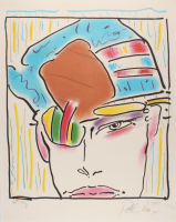 "Peter Max Signed 1980 ""Zero's Friend"" 21.5x27 Study Lithograph (PA LOA)"