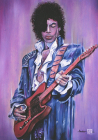 """Thang Nguyen - Prince """"Purple Rain"""" 8x12 Signed Limited Edition Giclee on Fine Art Paper #/25"""