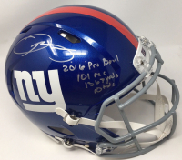"Odell Beckham Jr. Signed Giants Limited Edition Full-Size Authentic On-Field Speed Helmet Inscribed ""2016 Pro Bowl"", ""101 rec"", ""1367 yrds"" & ""10 tds"" (Steiner COA) at PristineAuction.com"