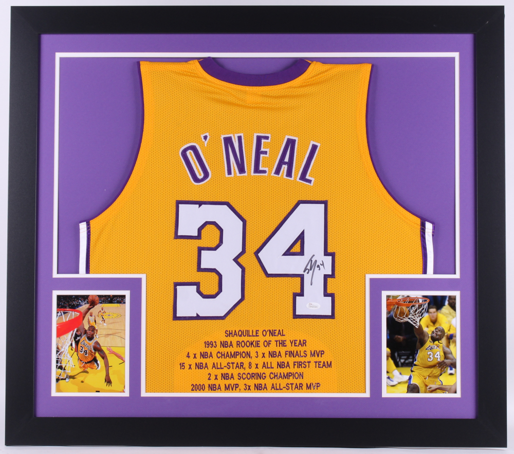 d9d7eeaf8 Shaquille O Neal Signed Lakers Career Highlight Stats 31.5x35.5 Custom  Framed Jersey