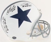Michael Irvin, Emmitt Smith & Troy Aikman Signed Cowboys Full-Size Helmet with (5) Career Stat Inscriptions (Radtke COA, Prova Hologram, Smith & Aikman Holograms)