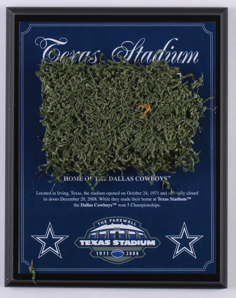 098118709bfdc3 Dallas Cowboys Texas Stadium Final Season 8x10 Plaque with Game-Used Turf  (Steiner COA)