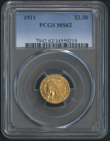 1911 $2.50 Indian Quarter Eagle Gold Coin (PCGS MS 62)