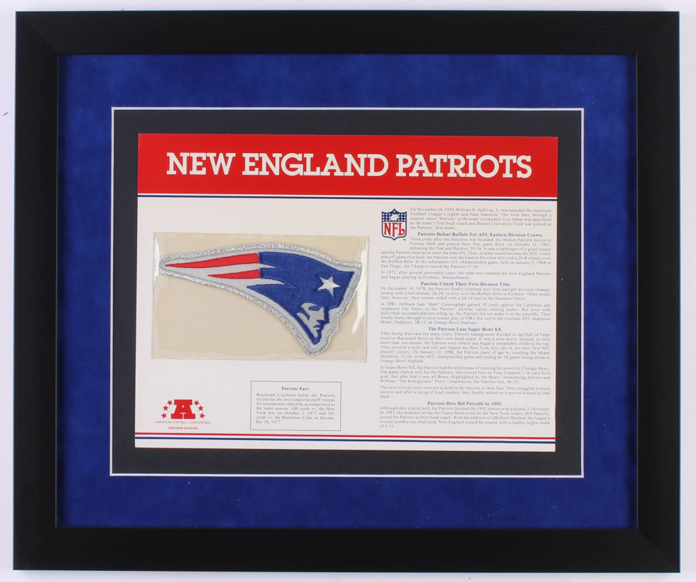 Willabee & Ward Official New England Patriots Patch Card with 9x12 Scorecard at PristineAuction.com