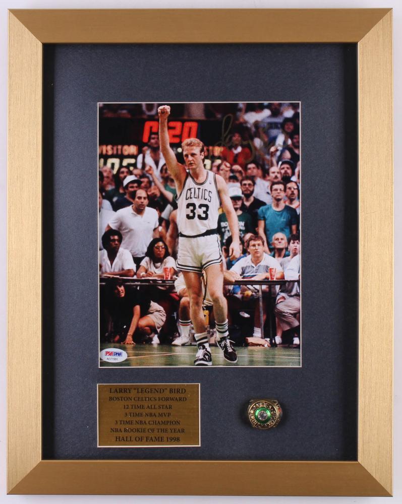 0da8db9962c Larry Bird Celtics 13.5x17x1 Custom Shadow Box with NBA Championship Ring  Display (PSA COA