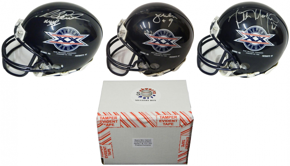 Chicago Bears Signed Mystery Box SB XX Champs Mini Helmet – Series 1 - (Limited to 200) **1985 Bears Team Helmet & Walter Payton 8x10 Redemptions** at PristineAuction.com