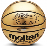 "Dirk Nowitzki Signed Limited Edition Molten Gold Trophy Basketball Inscribed ""Finals MVP"" (UDA COA) at PristineAuction.com"