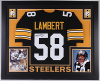 "Jack Lambert Signed Steelers 35x43 Custom Framed Jersey Inscribed ""HOF 90"" (JSA Hologram)"